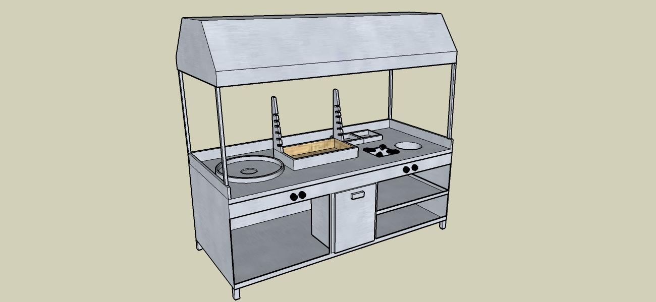 Komple Mutfak Set Projesi (Tantuni Tezgahı-Grel-Kokoreç Mangalı-Ocak-Çorbalık)